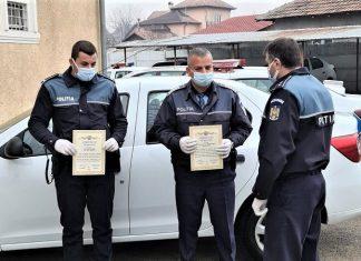 Anghel Gheorghe si Tiribentea Adrian politisti din cadrul IPJ Mehedinti felicitati de Directia de Ordine Publica