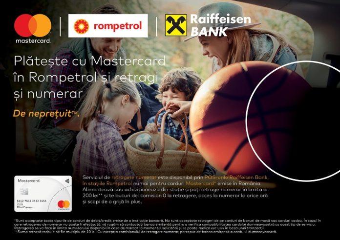 Dacă plătești cu un card Mastercard la POS Raiffeisen Bank din stațiile Rompetrol poți retrage numerar de până la 200 de lei