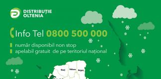 Distribuţie Oltenia - cea mai mare parte a incidentelor provocate de condițiile meteo în judeţele Dolj, Gorj, Mehedinţi, Olt şi Vâlcea au fost remediate