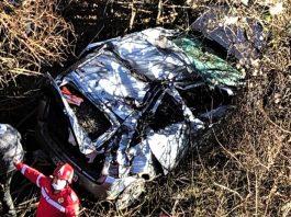 Orsova Accident rutier autoturism cazut langa viaductul Labalon