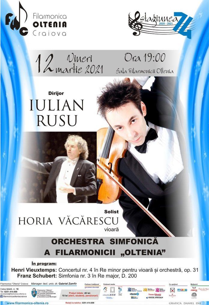 Filarmonica OLTENIA Craiova Concert Vieuxtemps & Schubert sub bagheta dirijorului Iulian Rusu